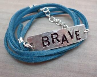 Brave Bracelet Strong Bracelet- Personalized Wrap Bracelet- Empowerment Jewelry-Your Word Bracelet -Empower Women Brave Fierce Warrior-B76