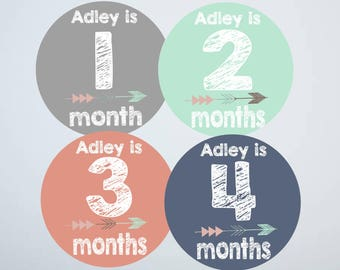 Baby Month Stickers Girl, Monthly Baby Stickers, Tribal Arrow, Personalized, Custom, Mint Green Coral NavyBaby Shower Gift