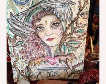 HAZE, Art Print, watercolor, witch, wicca, pagan, Hecate, Goddess, Sacred Feminine, Fantasy, Raven, Crow, Wild Heart, Gyspy, Custom Portriat