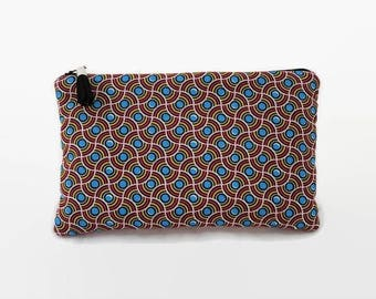 """flat pouch fabric ethnic style wax """"waves blue dots"""""""