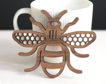 Manchester Bee - real wood coaster - Mancunian - Madchester - wedding favour - beekeeper - housewarming - thank you gift - personalised gift