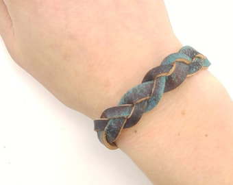Braided Leather Bracelet - Hand stained and hand painted - Free Shipping