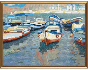 Cross Stitch Kit Boat whart
