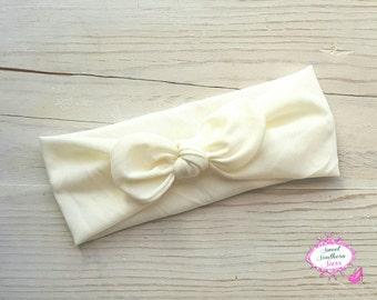 Cream Top Knot Headwrap, Knotted headband, cream headband, ivory headwrap, baby headwrap, photo prop, dress up