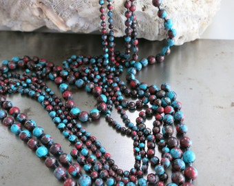 """2.4mm COPPER Ball Chain, SONORA SUNRISE Patina , Hand Applied Patina, by the Inch, 6"""" to 36"""", 1 Connector per Foot Included"""