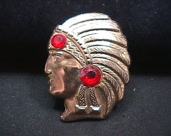 Vintage Copper Indian Head Brooch with two red stones in it Ready to Wear