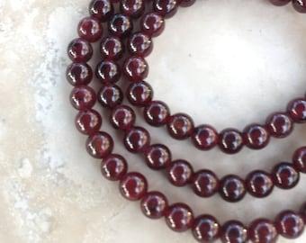 Round Garnet Beads, Garnet Beads, 4mm, 16 inch strand