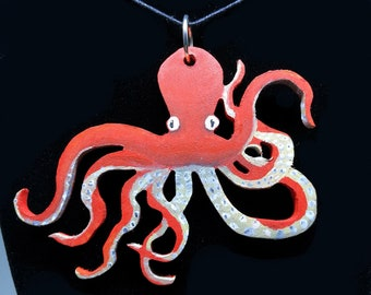 Octopus Necklace - Hand Painted Art Jewelry