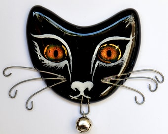 Handmade Fused Glass Cat Face Fridge Magnet, with Dichroic Glass Eyes