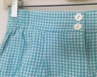 Vintage Aqua Gingham High Waisted Shorts
