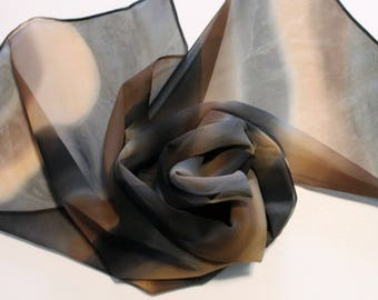 Hand Painted Silk Chiffon Scarf - Handpainted Scarves Black Brown Tan Gray Grey Charcoal Beige Chocolate Coffee Dark Neutral Sheer