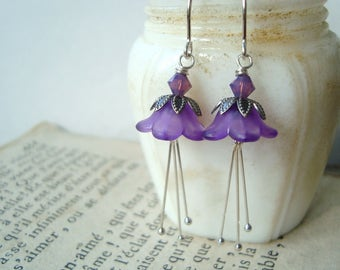 Purple Blossom Earrings With Crystals Silver Mothers Day Bridesmaid Jewelry Flower Jewelry Holiday Jewelry Gifts Under 40 Spring Flowers