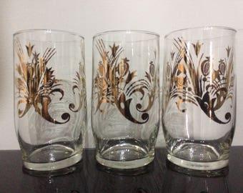 Retro Bar Glasses, Gilt Glasses, Floral Decor, Vintage Bar, Home Bar, Juice Glasses.