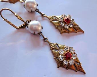 Art Deco earrings Edwardian earrings vintage style 1920s Art Nouveau earrings pearl and ruby crystal long earrings