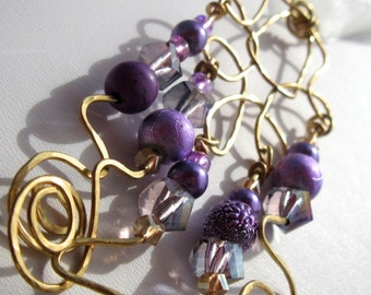 Chandelier Pendant. ZSA. chandelier collection. the pendant. purple glass bead and solid brass pendant necklace