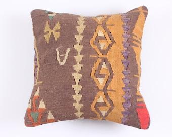 VINTAGE Wool Pillow - Turkish decorative kilim  cushion cover,16''X16'', Bohemian Home Decor