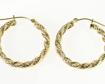 14k Rope Twist Hollow Hoop Earrings Gold