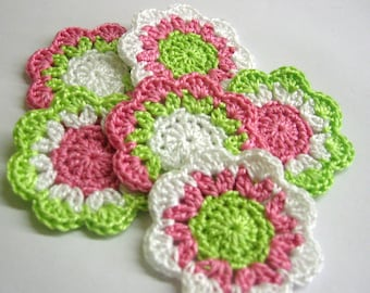 Handmade cotton flower motifs appliques in soft pink light green and white 2 inches wide set of 6
