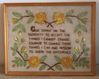 Vintage Finished Completed Crewel Stitch embroidery God grant me serenity framed