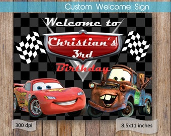 Cars Welcome Sign Cars Name Birthday Welcome Sign Printable Birthday Party Theme Digital File Customized Welcome Sign