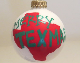Merry Texmas Christmas Ornament Handpainted