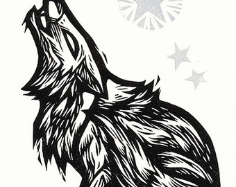 "Hand-pulled Linocut - ""Coyote Song"""