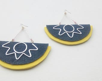 Blue jeans earrings with hammered aluminum