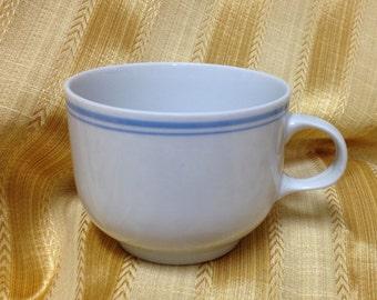 Alfoldi Porcelain Blue Rimmed Cup,  Alfoldi Porcelain Blue Rimmed Mug , Made in Hungary, Hungarian Porcelain, Blue Pinstriped Cup, Mug