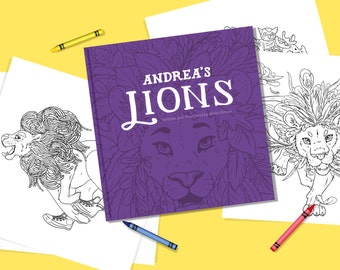 Andrea's Lions Children's Book - Full Colour Storybook Activity Kit with Crayons and Coloring Pages