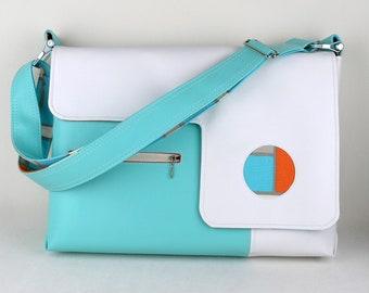 "Vegan Laptop Bag in Turquoise and White, Vinyl Computer Bag 13"", 15"", 17"""