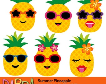 Pineapple clipart / Summer pineapple with sunglasses clip art, commercial use, digital images