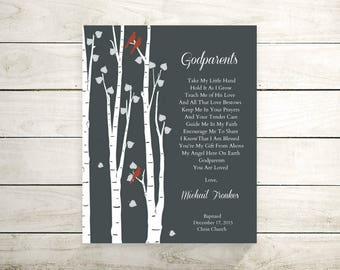 Godparents Baptism Gift | Godparents Thank You | Gift From Goddaughter Godson | Christening Gift For Godparents - 36577