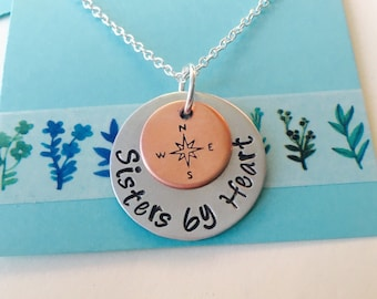 Sisters by Heart Necklace, Best Friend Necklace, Cousin Necklace , Sisters by Heart, Best Friend Gift, Long Distance