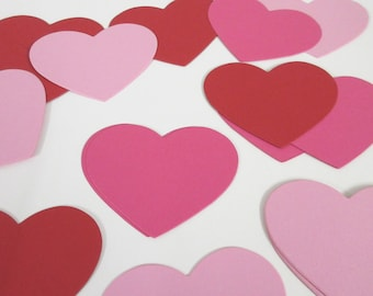"""Heart Die Cuts- Card stock heart cut outs, heart place cards, wedding tags, cupcake toppers-PICK YOUR COLORS 3 1/4"""" Set of 30 hearts"""