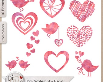 Pink Watercolor Hearts, Transparent PNG , PNG Elements, Digital Scrapbook Elements, Printable Designers Resources