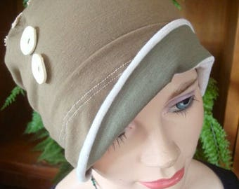 womens hat cloche chemo soft hat headcover chemo gift olive cream with tatted doiley ooak