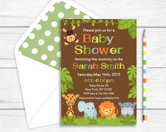Printable Jungle Safari Baby Shower Invitation, Safari Baby Shower Invitation, Jungle Animals Baby Shower Invitation, Neutral Baby Shower