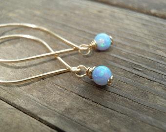 Opal Earrings, Opal Dangle Earrings, White Opal, Blue Opal Dangle Earrings, Blue Opal Earrings ,Silver Dangle Earrings ,october birthstone