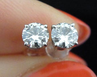Vintage 0.70ct Diamond 14k White Gold Stud Earrings Estate LAYAWAY AVAILABLE
