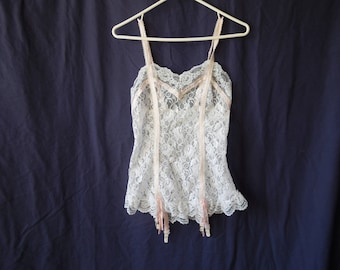 70s Pink and White Lace Camisole with Garters