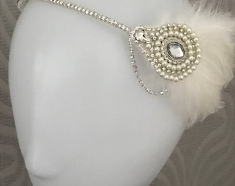 Gatsby headpiece 1920s dress feather headband - Flapper headdress - Art deco wedding - Feather headband