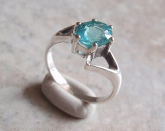 Apatite Ring Sterling Silver Blue Size 7 Vintage Upcycled V0712