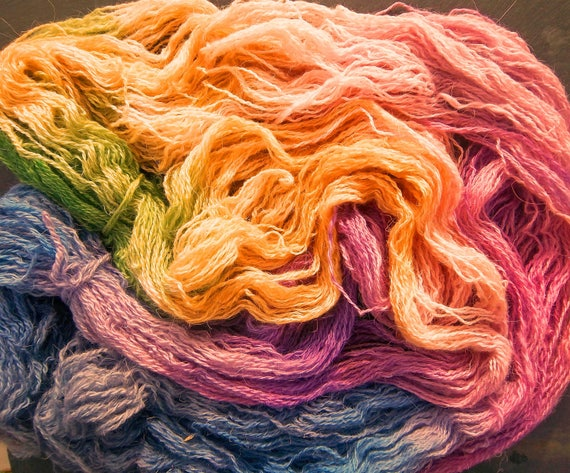 Hand Dyed Yarn  Elvincraft Sheep Light 4ply, Fingering Spring Buds