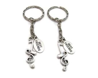 Music Note Keychain Set Best Friends Set  Keychains  Treble Clef Keychain Quarter Note Keychain  Music Lovers Gift