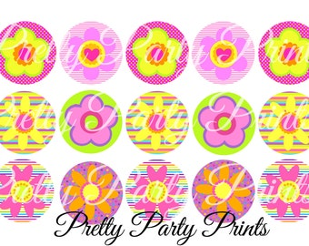 Instant Download Summer Flowers 1 inch Round Circles for Bottle Caps, Hair Bows, Jewelry, Magnets and Scrapbooking