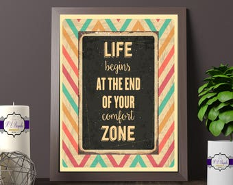 Retro Quote Print - Life Begins At The End Of Your Comfort Zone Quote - Colourful Retro Themed Wall Art - Retro Decor - Printed & Unframed