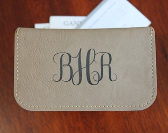 Leather Card Holder, Personalized Card Holder, Tan Card Holder, Monogram Card Holder, Business Card Holder, Leather Business Card Holder