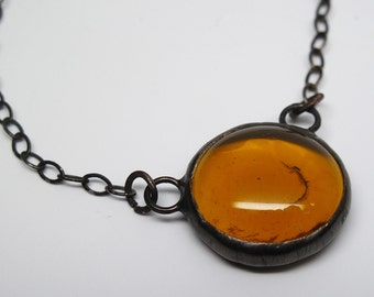 Amber Droplet - Small Stained Glass Nugget Necklace with Sterling Silver Chain