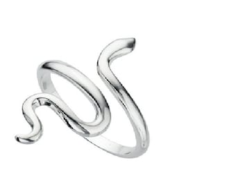 Snake Adjustable Solid Silver Ring, Adjustable to all sizes, Sterling Silver 925, Modern Jewellery, Gift, Womens Jewellery, Minimalist