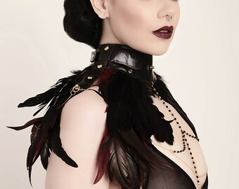 Feather Leather Choker, Burning man Costume, Gothic Feather Collar, Black Leather Choker